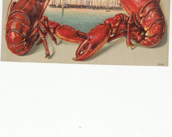 """C1910 Lobster Border Embossed Postcard """"Greetings From (Blank)"""" Sailing Ships, Used"""