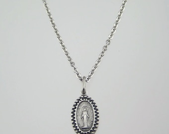 3/4 inch Beaded Miraculous Medal Necklace
