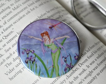 Pocket Mirror - Dragonfly Fairy Dancing Flying Irises Faerie
