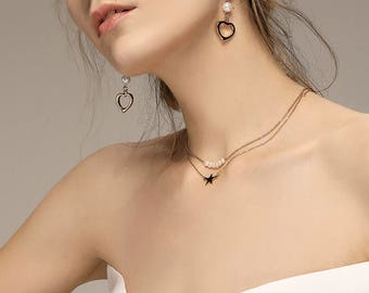 14k Gold Plated Choker Necklace/Star Necklace/ Star Choker/ Gold Necklace with Star Pendant.