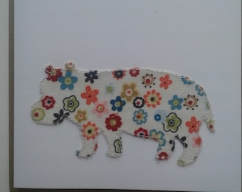 Original Textile Art Hand Made Hippo Greetings Card