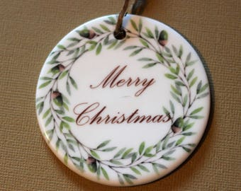 Merry Christmas ornament wreath nature rustic