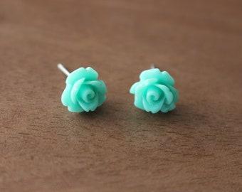 Floral Stud Earrings Mint Stainless Steel Posts Hypoallergenic