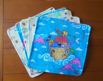 Baby Washcloths (set of 5)  Noah's Ark Two x Two