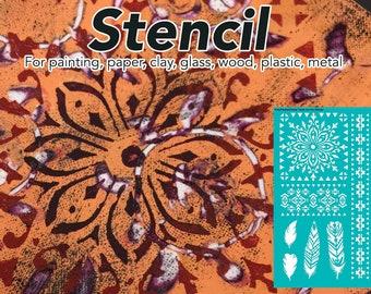 Pochoir, pochoir Mandala, peinture au pochoir, pochoir Craft, pochoir mural, modèle, modèle, tatouage temporaire, plume Mandala ethnique, Tribal