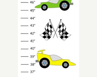 ON SALE Personalized Race Cars Canvas Growth Chart