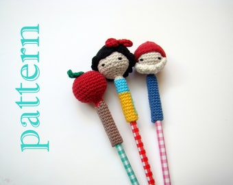 Snow White Pencil Toppers Pattern pencil topper back to school back to school crafts crochet pattern teacher gift ideas teacher gift