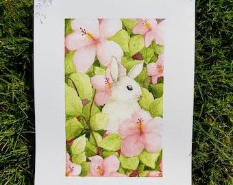 Watercolour Bunny Easter Nursery Giclee Print