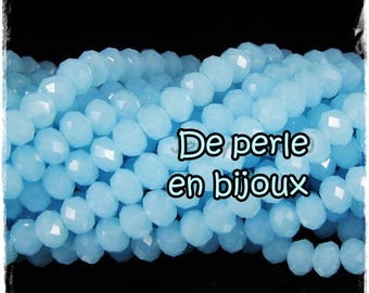 20 pcs-Perle 4 mm x 3mm swarovski's faceted rondelle turquoise 4 mm x 3 mm