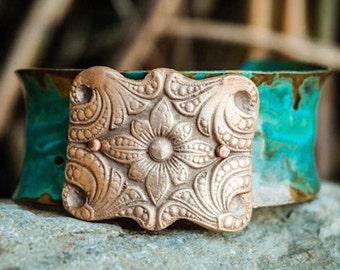 Brass Bracelet, Brass Cuff, Bracelets For Women, Bracelets For Mothers, Small Brass Verde Cuff with Bronze Medallion