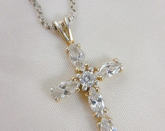 Vintage Sterling Cross Pendant and Chain Necklace