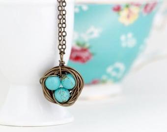 Birds Nest Pendant - Meaningful Gift - For Mom - Rustic Pendant - Bird Nest Necklace - Turquoise Nest Pendant  - Woodland Necklace