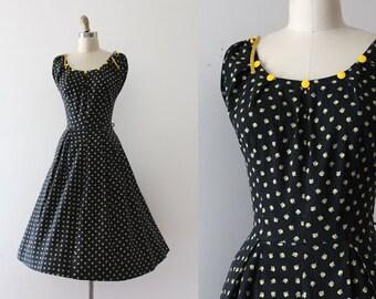 vintage 1950s floral dress // 50s cotton day dress