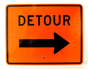 """Vintage Metal """"DETOUR"""" Sign in Orange and Black, 30"""" x 24"""" (c.1980s) - Industrial Home Decor, Collectible Signage, Man Cave"""