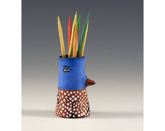 Quinten - Ceramic Bird Toothpick Holding Bud Vase by Jenny Mendes
