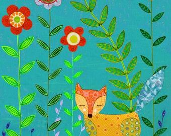 Children Decor - Nursery Wall Art - Nursery Decor  - Animal Art - Animal Painting - Fox Art Print - Fox Art - Fox Collage - Animal Nursery