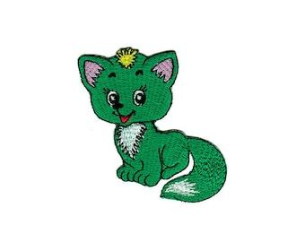 Bb20 Fox Green Animals patch hanger Patch patches Children size 6.5 x 7.0 cm