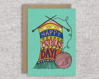 Happy Mother's Day | Knitted Mother's Day Card, Knitting needles, yarn, knitter, Mother's Day Card, Funny Card, knitting, textiles