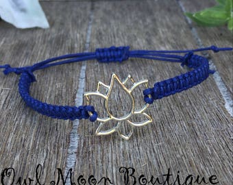 Macrame Bracelet Lotus Flower-Cobalt Blue, Silver
