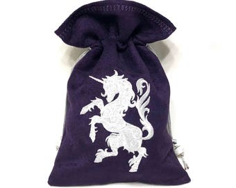 PRANCING UNICORN - Faux Suede Drawstring Pouch with Machine Embroidery for Dice, Runes, Tarot Cards, LARP