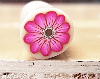 Polymer Clay Cane, Hot Pink Flower Cane, Millefiori Raw Unbaked with Translucent Background