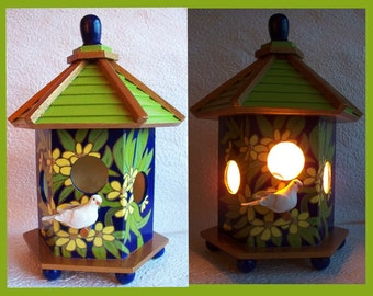 Birdhouse Night Light Lamp, Detailed hand painted design no. 2, Table Night Light, Decorative Lighting, Table Lamp