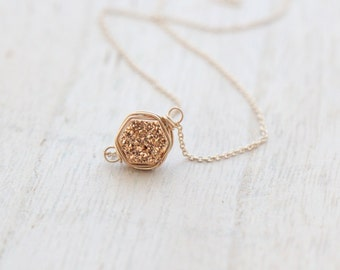 Hexagon Druzy Necklace , Gilded Geometric Bezel Wrapped Quartz in Gold , Minimalist Fall Fashion