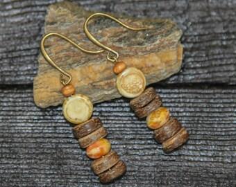 Boho Earrings for Women Tribal Earrings Hippie Earrings Long Earrings Ethnic earrings Rustic Earrings Bohemian Earrings wood earrings