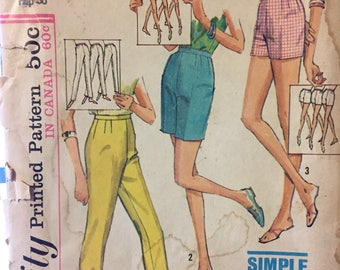 "Vintage 1960's Misses' Shorts and Pants Sewing Pattern ""Simple to Sew"" Simplicity 5973 Waist  26  Complete"