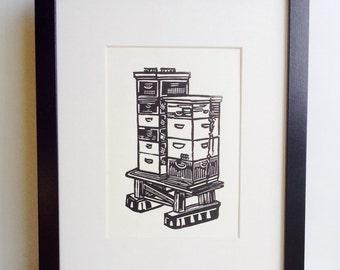 "Backyard Beehives 5x7"" handmade linocut print (unframed), handprinted on soft white cardstock.  Home decor, beekeeping art, beehives art"