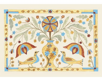 "Folk art frameable greeting card print, ""Keepers"""
