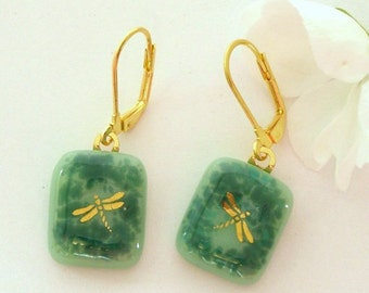 Fused Glass Jewelry, Gold Dragonfly Fused Glass Earrings, Sea Green and Teal Glass