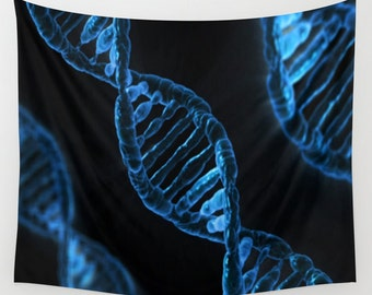 DNA Wall Tapestry, Vivid Blue Wall Art , Science Art, Office, Modern Decor, Home, Dorm Tapestry, Dorm Wall Art, Outdoor,Blue Black Tapestry