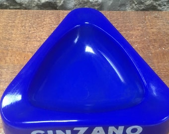 Vintage Cinzano Blue Glass Advertising Ashtray, Collectables , Tobacco and Bar,  Home Decor