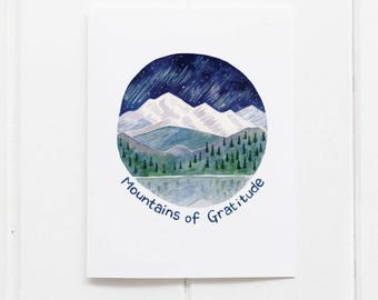 Thank You Card / Northwest Thank You / Watercolor Card / Greeting Card / Pacific Northwest Card / Mountains Card / Olympic Mountains