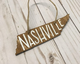 Tennessee Christmas Ornaments | Wooden, Holiday, Custom, Hand lettered, wood