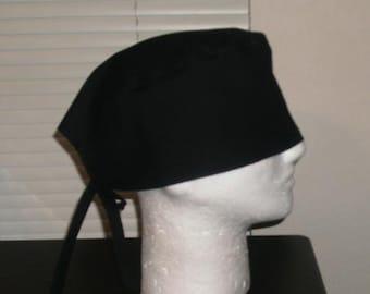 Black Scrub Cap, Skull Cap, Surgical Cap, Chemo Cap, Headwear