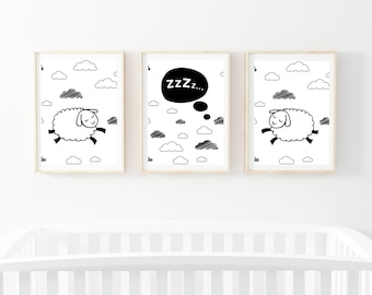 Sleepy Sheep Decor Prints ~ Set of 3