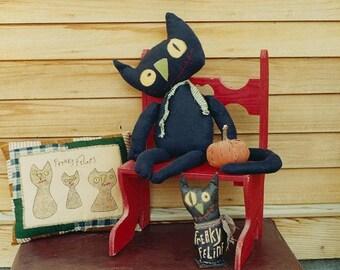 Primitive Halloween Pattern EPattern PDF Folk Art Folkart Folk Art Black Cat Cats Doll Stitchery Pillow by Hickety Pickety 092