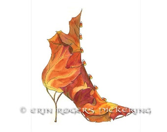 Sugar Maple Boot with Candy Corn buttons Shoe Art 8x10 print
