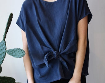 Silky Bow Top. Loose Fit Women Shirt. Drapy Oversized Shirt. Cap Sleeve Self. Waist Knot . Alice Top SS14