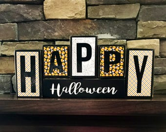 Happy Halloween wood block(candy corn)