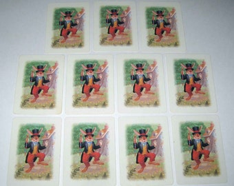 RESERVED FOR SUSAN Vintage Uncle Wiggily Rabbit Children's Playing Cards Set of 11