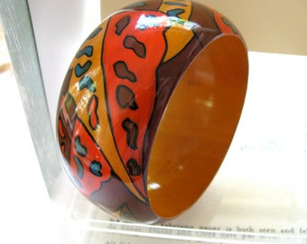 Bangle bracelet, abstract drsign, painted wood bracelet , 1 and 1/2 onches wide