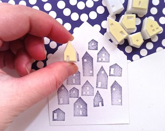 house rubber stamp set | diy winter christmas card making | gift wrapping | diy art journal | hand carved by talktothesun | set of 7