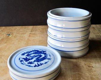 Vintage Chinese Spice Stack Bowls, Storage Bowls, Spice Rack, Porcelain Bowl Set, Ceramic Stacked Bowls, Blue and White Stacking Jar