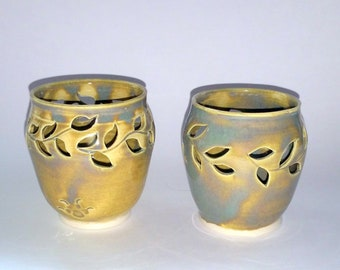 Green Votive Candle Holder or Luminary with Vine Cut-outs -  Wheel Thrown Pottery