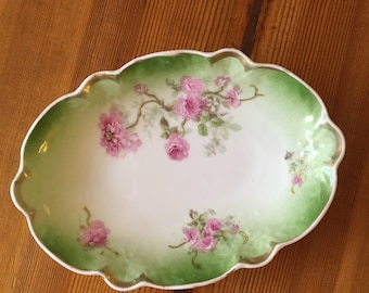 Antique Pink Rose and Green China Dish