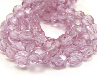 Light Violet 6mm Facet Round Czech Glass Fire Polished Beads 25pc #808