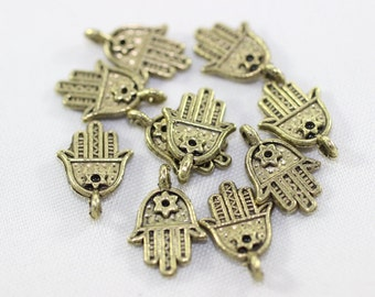50 Pcs Antique Bronze Hamsa Orientalist Charms, Hamsa Bracelet and Necklace Findings, 13 mm Tiny Hamsa Charms, Hamsa, MNHC
